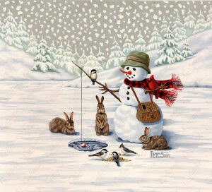 Ice Fishing Snowman