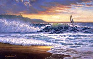 Beach Sunset Lighthouse